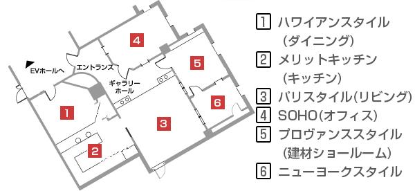 輸入住宅ショールームの案内図